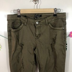 Rue 21 Army Green Distressed Skinny Jeans